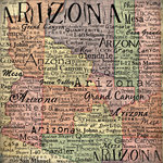 Scrapbook Customs - United States Collection - Arizona - 12 x 12 Paper - Map