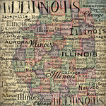 Scrapbook Customs - United States Collection - Illinois - 12 x 12 Paper - Map