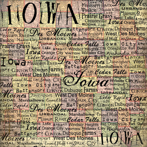 Scrapbook Customs - United States Collection - Iowa - 12 x 12 Paper - Map