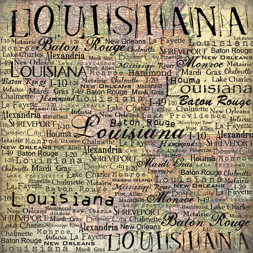 Scrapbook Customs - United States Collection - Louisiana - 12 x 12 Paper - Map
