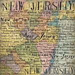 Scrapbook Customs - United States Collection - New Jersey - 12 x 12 Paper - Map