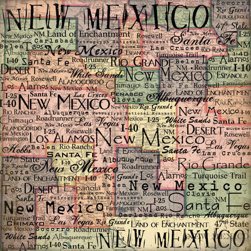 Scrapbook Customs - United States Collection - New Mexico - 12 x 12 Paper - Map