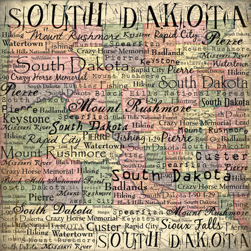 Scrapbook Customs - United States Collection - South Dakota - 12 x 12 Paper - Map