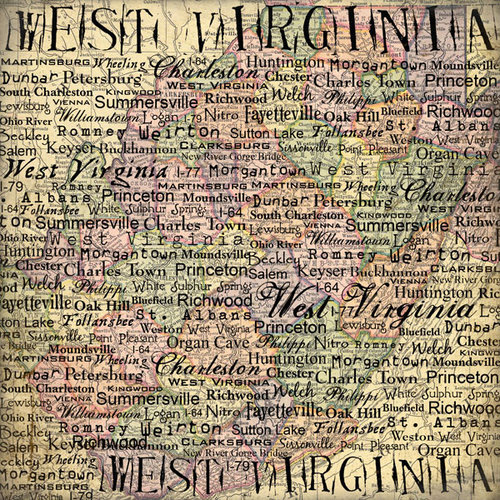 Scrapbook Customs - United States Collection - West Virginia - 12 x 12 Paper - Map
