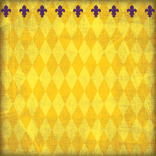 Scrapbook Customs - United States Collection - Louisiana - 12 x 12 Paper - Mardi Gras - Yellow - Companion