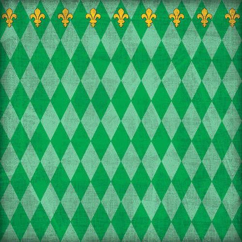 Scrapbook Customs - United States Collection - Louisiana - 12 x 12 Paper - Mardi Gras - Green - Companion