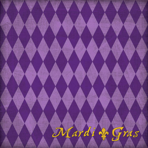 Scrapbook Customs - United States Collection - Louisiana - 12 x 12 Paper - Mardi Gras - Purple