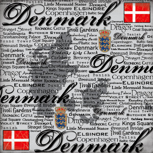Scrapbook Customs - World Collection - Denmark - 12 x 12 Paper - Scratchy