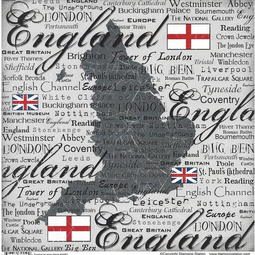 Scrapbook Customs - World Collection - England - 12 x 12 Paper - Scratchy