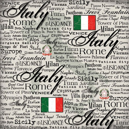 Scrapbook Customs - World Collection - Italy - 12 x 12 Paper - Scratchy