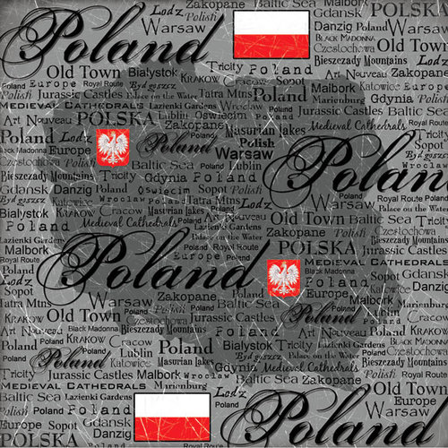 Scrapbook Customs - World Collection - Poland - 12 x 12 Paper - Scratchy