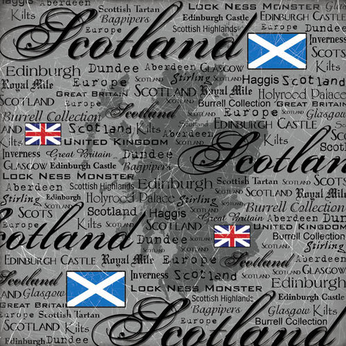 Scrapbook Customs - World Collection - Scotland - 12 x 12 Paper - Scratchy