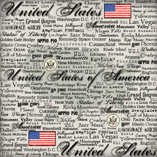 Scrapbook Customs - World Collection - USA - 12 x 12 Paper - Scratchy