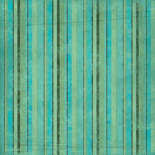 Scrapbook Customs - Travel Collection - 12 x 12 Paper - Tropical - Stripe - Green