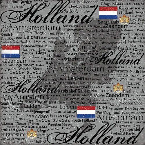 Scrapbook Customs - World Collection - Holland - 12 x 12 Paper - Scratchy