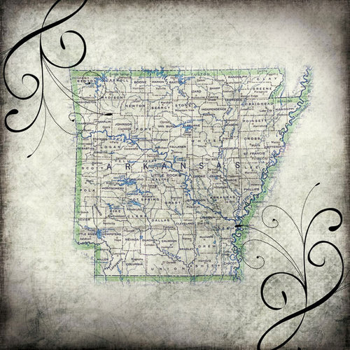 Scrapbook Customs - United States Collection - Arkansas - 12 x 12 Paper - Travel
