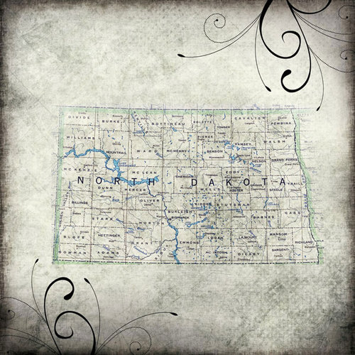 Scrapbook Customs - United States Collection - North Dakota - 12 x 12 Paper - Travel