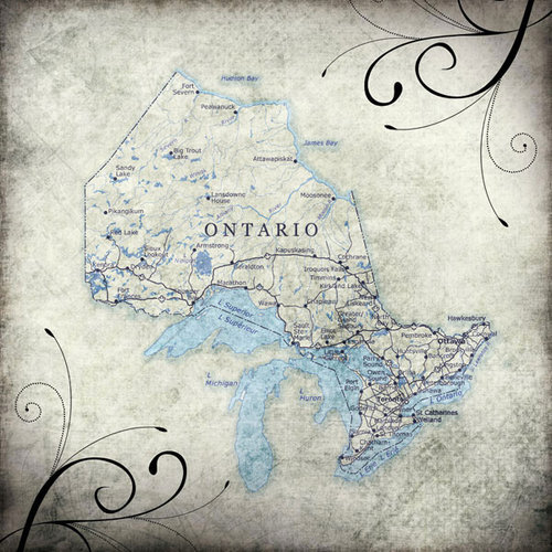 Scrapbook Customs - World Collection - Canada - 12 x 12 Paper - Travel - Ontario