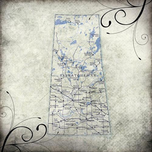 Scrapbook Customs - World Collection - Canada - 12 x 12 Paper - Travel - Saskatchewan
