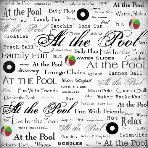 Scrapbook Customs - Sports Collection - 12 x 12 Paper - At the Pool - Live For