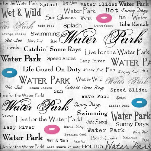 Scrapbook Customs - Sports Collection - 12 x 12 Paper - Water Park - Live For