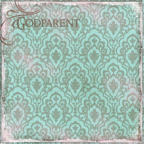 Scrapbook Customs - Religious Collection - 12 x 12 Paper - Godparent Vintage - Teal