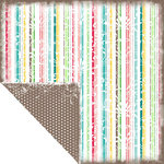 Scrapbook Customs - Travel Collection - 12 x 12 Double Sided Paper - Bon Voyage - Stripes