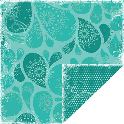 Scrapbook Customs - Travel Collection - 12 x 12 Double Sided Paper - Bon Voyage - Blue Water Drops