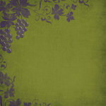 Scrapbook Customs - Travel Collection - 12 x 12 Paper - Vineyard - Grapevines - Green