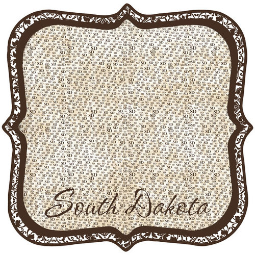 Scrapbook Customs - United States Collection - South Dakota - 12 x 12 Die Cut Paper - State Shape