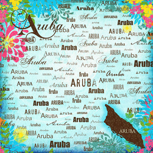 Scrapbook Customs - World Collection - Aruba - 12 x 12 Paper - Paradise