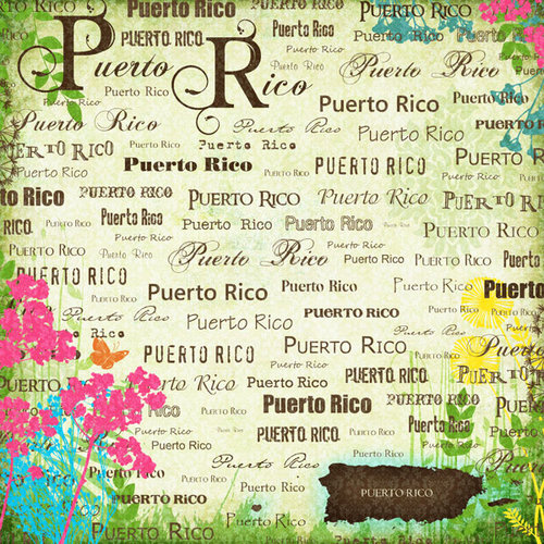 Scrapbook Customs - World Collection - Puerto Rico - 12 x 12 Paper - Paradise