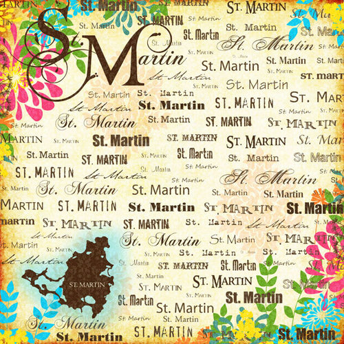 Scrapbook Customs - World Collection - St. Martin - 12 x 12 Paper - Paradise