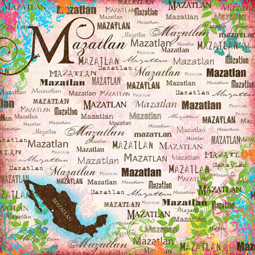 Scrapbook Customs - World Collection - Mexico - 12 x 12 Paper - Mazatlan - Paradise