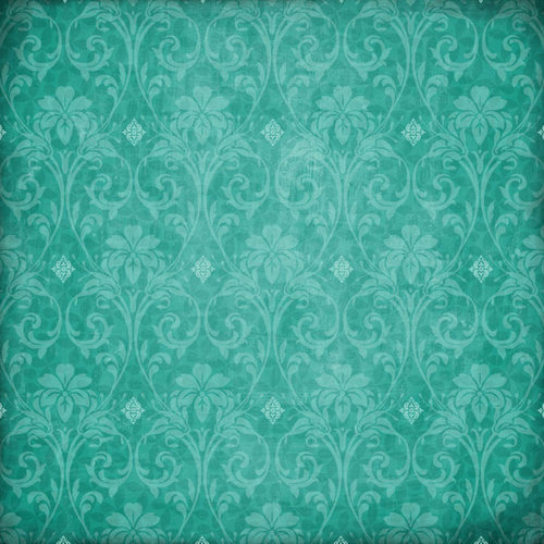 Scrapbook Customs - Travel Collection - 12 x 12 Paper - Paradise - Teal Flourish