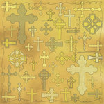 Scrapbook Customs - Religious Collection - 12 x 12 Paper - Quotes - Crosses Collage