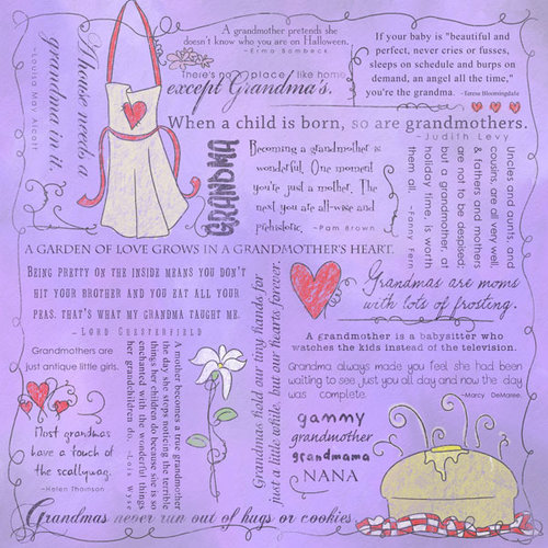 Scrapbook Customs - Religious Collection - 12 x 12 Paper - Quotes - Grandma