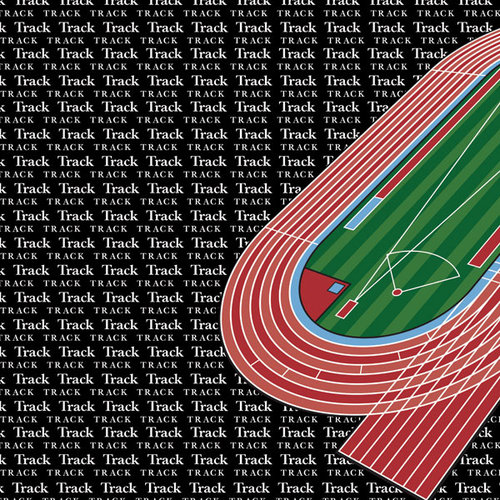 Scrapbook Customs - Sports Collection - 12 x 12 Paper - Track & Field Go Big Left