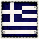 Scrapbook Customs - 12 x 12 Paper - Greece Sightseeing Flag
