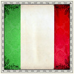 Scrapbook Customs - 12 x 12 Paper - Italy Sightseeing Flag