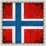 Scrapbook Customs - 12 x 12 Paper - Norway Sightseeing Flag