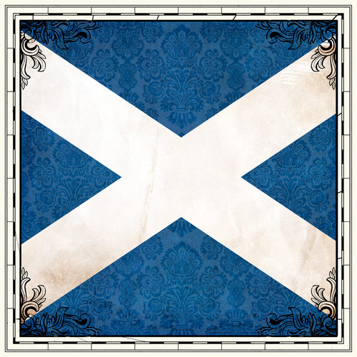 Scrapbook Customs - 12 x 12 Paper - Scotland Sightseeing Flag