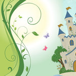 Scrapbook Customs - 12 x 12 Paper - Fairytale Castle Left