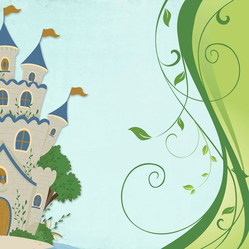 Scrapbook Customs - 12 x 12 Paper - Fairytale Castle Right