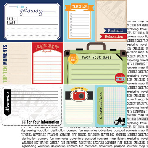 Scrapbook Customs - Travel Photo Journaling Collection - 12 x 12 Double Sided Paper - Travel Journal