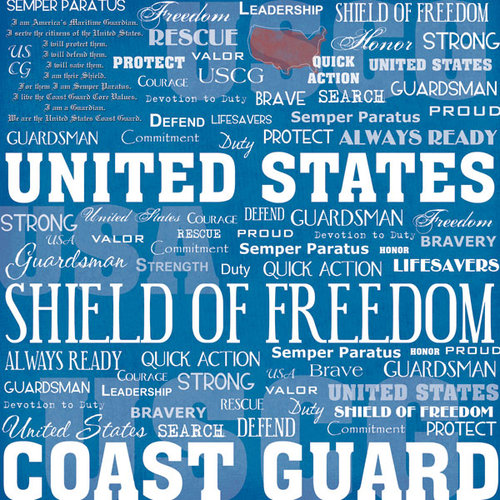 Scrapbook Customs - United States Military Collection - 12 x 12 Paper - Coast Guard Live For