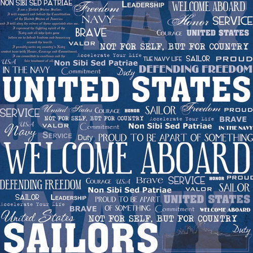 Scrapbook Customs - United States Military Collection - 12 x 12 Paper - Navy Live For