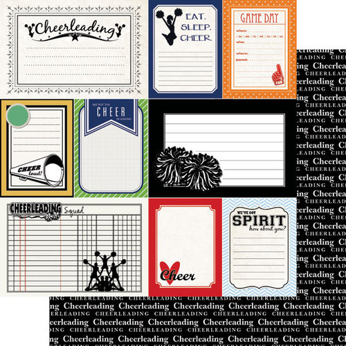 Scrapbook Customs - Sports Pride Collection - 12 x 12 Double Sided Paper - Cheerleading - Journal