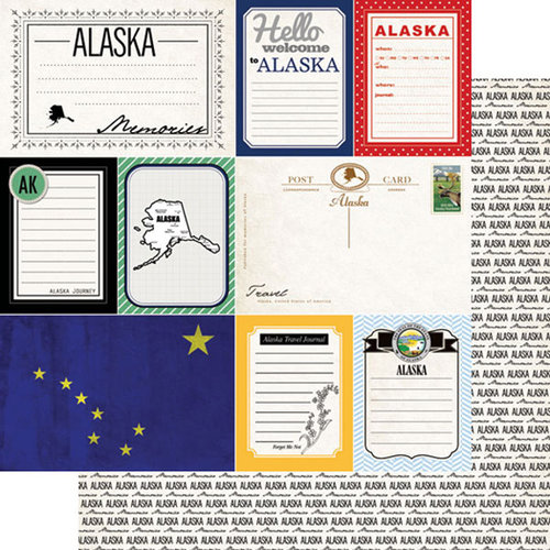 Scrapbook Customs - Vintage Travel Photo Journaling Collection - 12 x 12 Double Sided Paper - Alaska - Journal