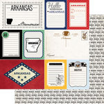 Scrapbook Customs - Vintage Travel Photo Journaling Collection - 12 x 12 Double Sided Paper - Arkansas - Journal